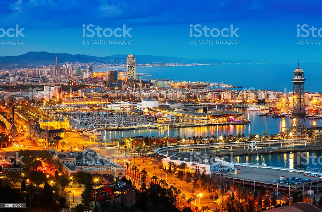 Top view of Port in Barcelona during evening – Foto