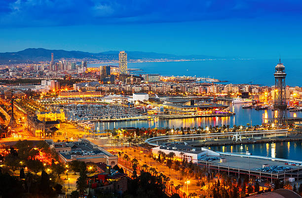 Top view of Port in Barcelona during evening stock photo