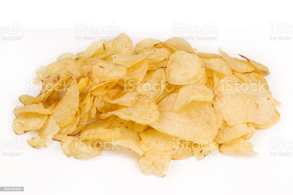top view of potato snacks pile isolated on white - foto de acervo
