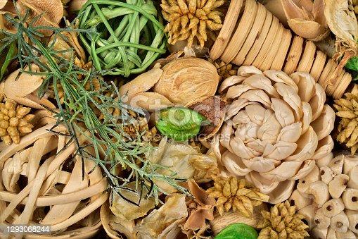 Top view of potpourri with twig balls and Pinecones, potpourri texture background, macro of potpuri