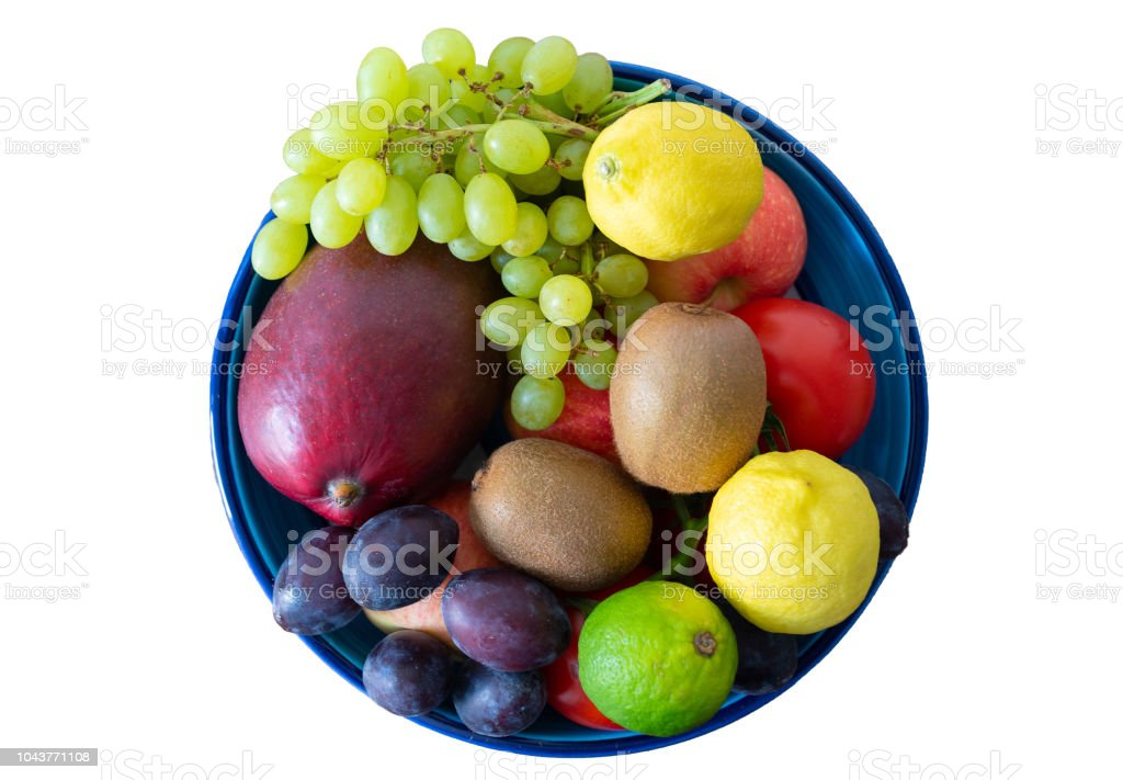 top view of pottery bowl filled with fresh fruits isolated on white background stock photo