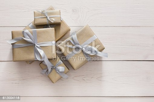 istock Top view of present boxes on white with copy space 612004118