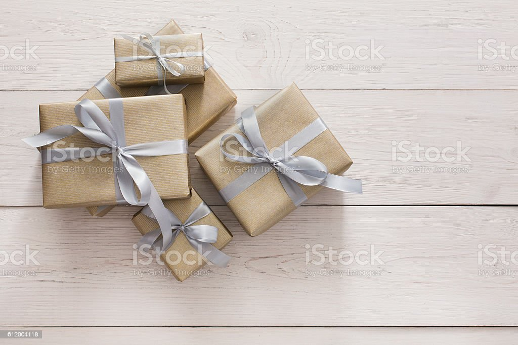 Top view of present boxes on white with copy space stock photo