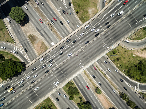 Top View of Radial Leste Avenue, in Sao Paulo, Brazil