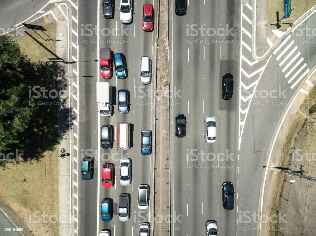 Top View of Radial Leste Avenue, in Sao Paulo, Brazil stock photo
