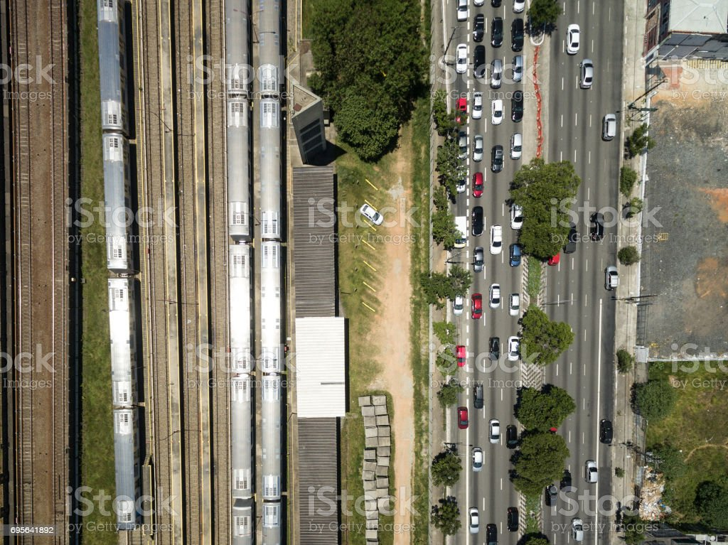 Top view of Radial Leste Avenue in Sao Paulo, Brazil stock photo