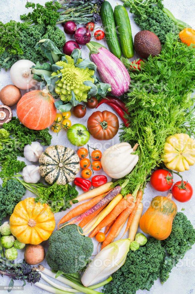 Top view of rainbow vegetables, autumn harvest stock photo