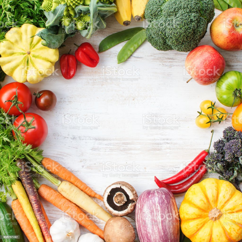 Top view of rainbow vegetables, fruits, copy space stock photo