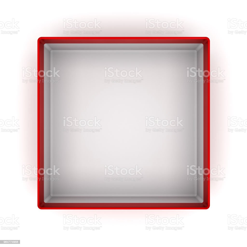Top view of Red blank Cardboard box isolated on white background with shadow 3D rendering royalty-free stock photo