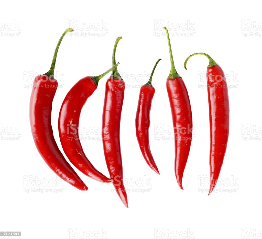 Top view of red peppers isolated white background stock photo