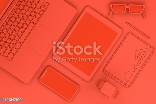 949860388istockphoto Top view of red workplace with Laptop and Smart Phone Technology Concept. 1124347922