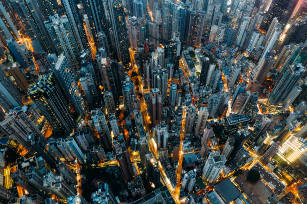 Top view of residential at central district in Hong Kong China at night