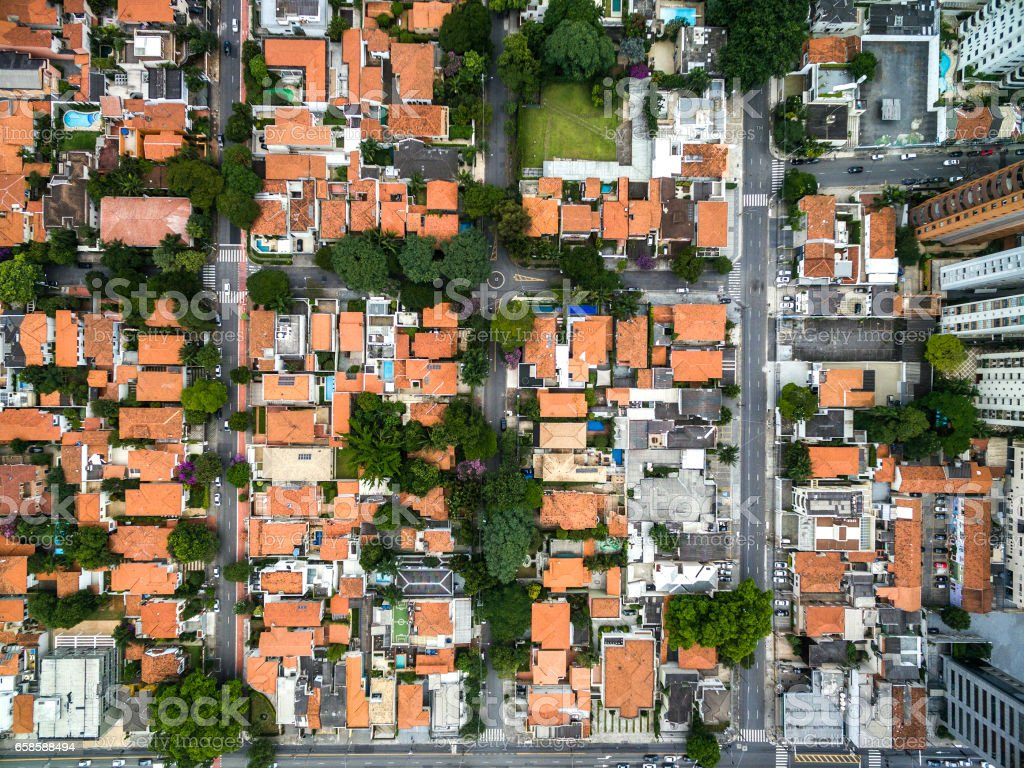 Top view of residential houses in Sao Paulo, Brazil stock photo