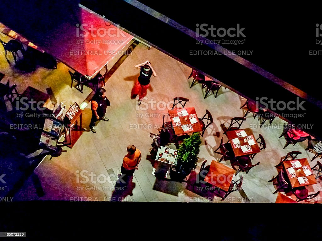 Original top view of restaurant in ashopping mall at night with...