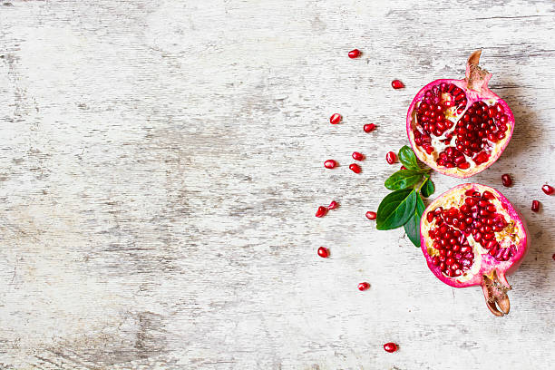 top view of ripe pomegranate stock photo