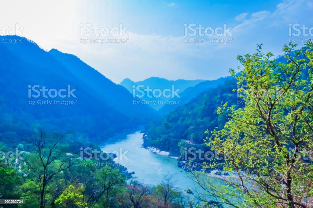 Top view of river ganga rishikesh India - Royalty-free Advertisement Stock Photo