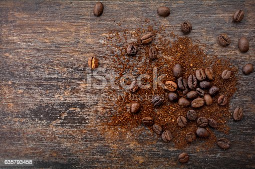 istock Top view of roasted coffee beans and ground coffee 635793458