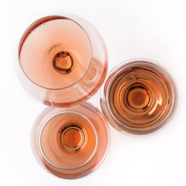 top view of rose wine glasses stock photo