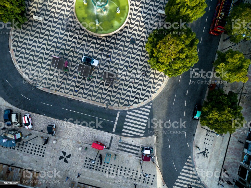 Top View of Rossio Square in Lisbon, Portugal stock photo