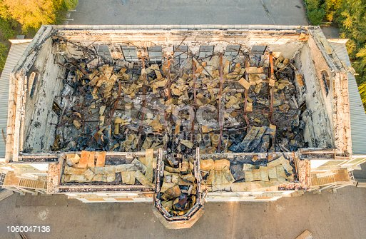 1015604922 istock photo top view of ruined damaged destroyed building after war f 1060047136