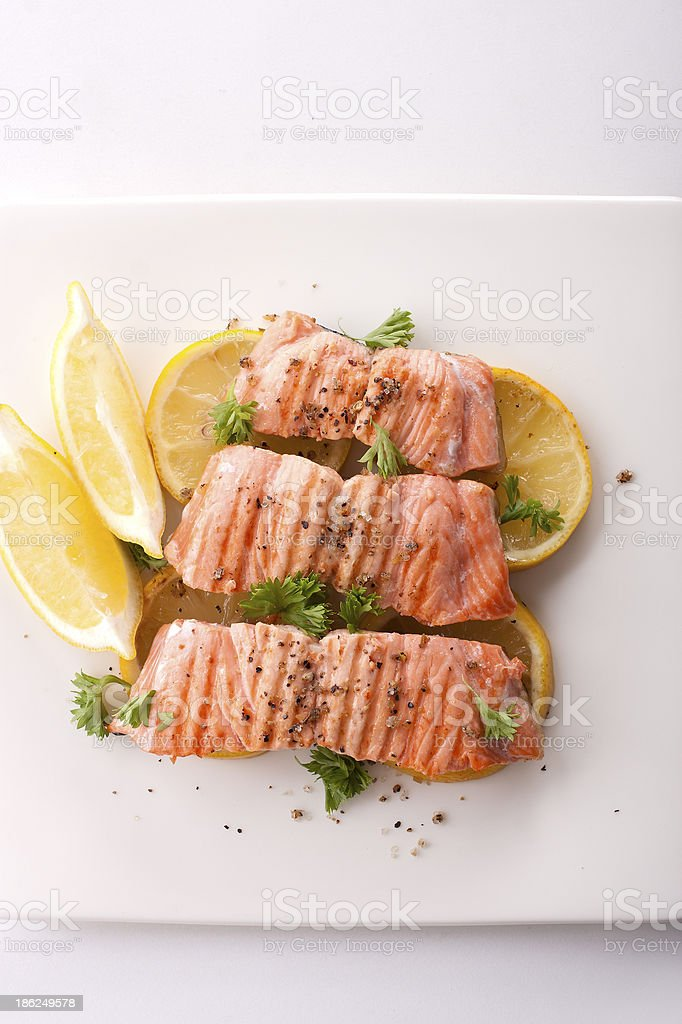 Top view of salmon steak stock photo