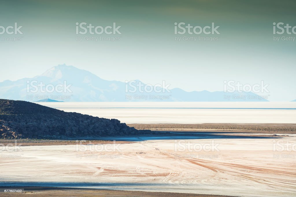 Top view of salt flat Salar de Uyuni, Altiplano, Bolivia royalty-free stock photo
