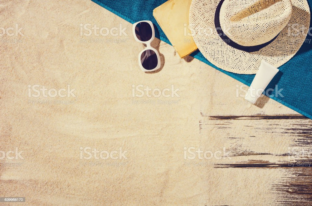 Top view of sandy beach. Background with copy space stock photo