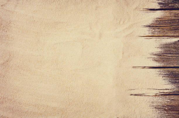 Draufsicht der Sandstrand. Hintergrund mit Textfreiraum – Foto