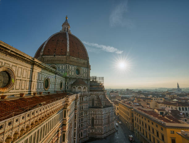 Top view of Santa Maria del Fiore duomo church and Florence old city skyline in Italy. stock photo