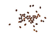 Scattered roasted coffee beans on white background, top view with clipping path. Top view of scattered roasted coffee beans.