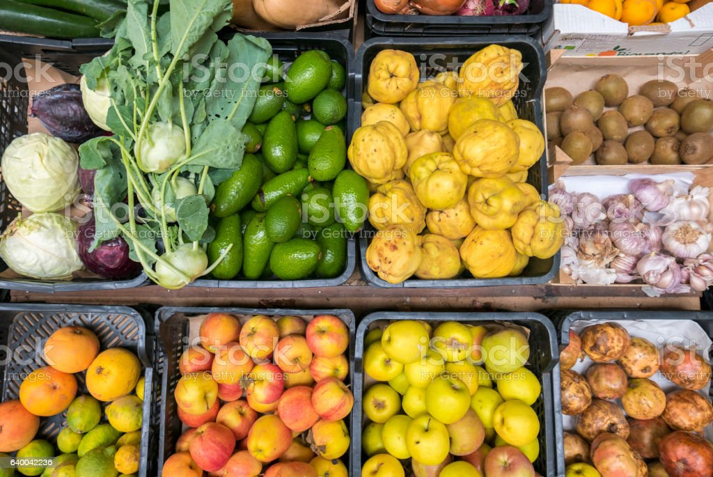 Top view of selections of healthy fruits and vegetables stock photo