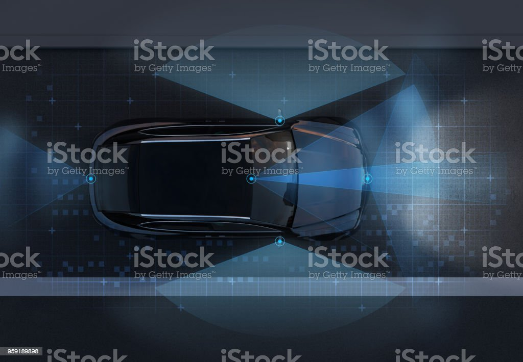 Top view of self-driving SUV on the road with sensing graphic pattern retouched stock photo