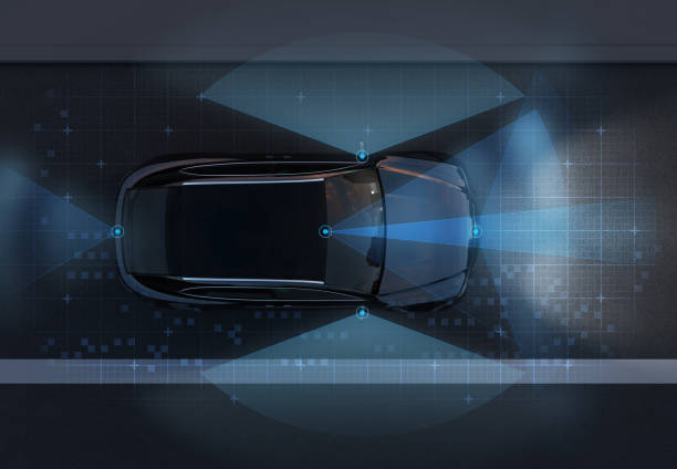 top view of self-driving suv on the road with sensing graphic pattern retouched - self driving car stock photos and pictures