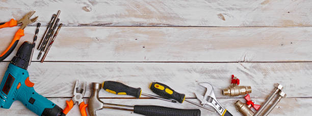 top view of set of hand tools on wooden background with copy space, suitable for header or banner - tools zdjęcia i obrazy z banku zdjęć