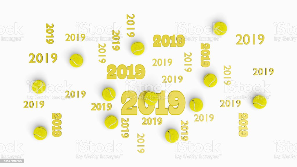 Top View of Several Tennis 2019 Designs with Some Balls royalty-free stock photo