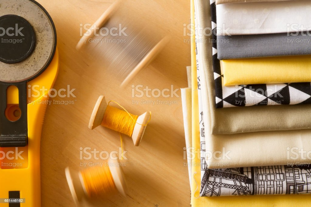 Top view of sewing tools stock photo