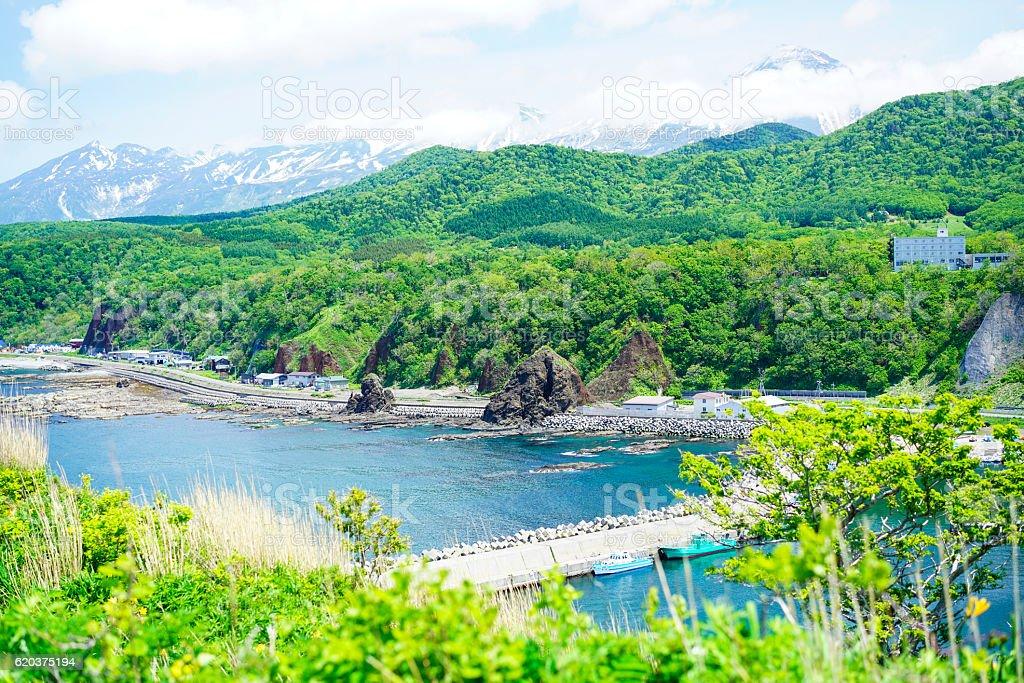 Top view of Shiretoko coast at Utoro, Hokkaido Japan zbiór zdjęć royalty-free