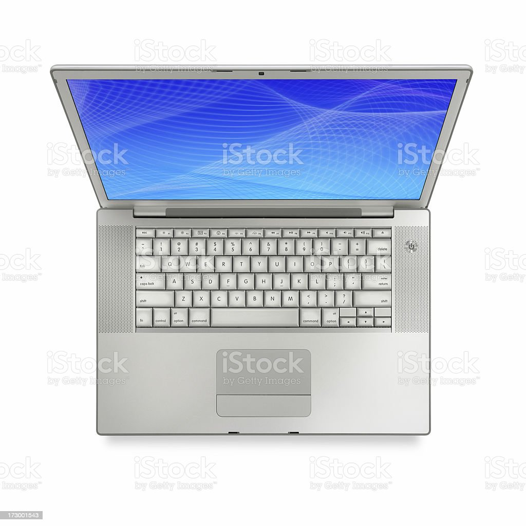 Top View of Silver Laptop royalty-free stock photo