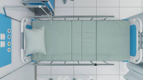 Top-Ansicht des Medizinischen Einzelbetts bei hellem Licht – Foto