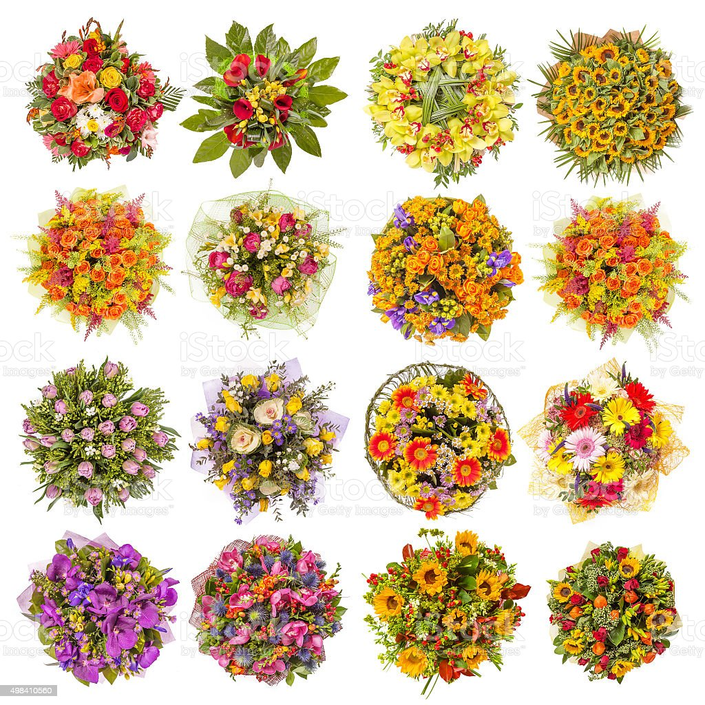 Top View Of Sixteen Colorful Flower Bouquets stock photo   iStock