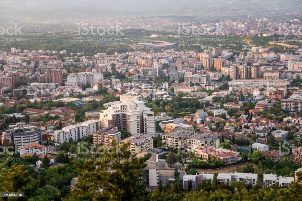 Top view of Skopje city in Macedonia on sunset. stock photo