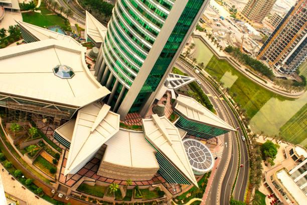 Top view of skyscraper Almas Tower in Dubai stock photo