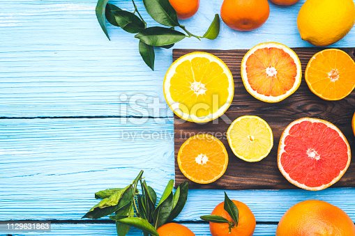 sliced citrus fruits with space