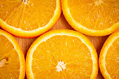 Top view of sliced oranges which is good in vitamin c. Immunity boosting food.