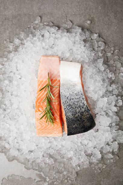 얼음에 및 콘크리트 표면에 로즈마리와 슬라이스 연어의 상위 뷰 - 얼음 조각 뉴스 사진 이미지