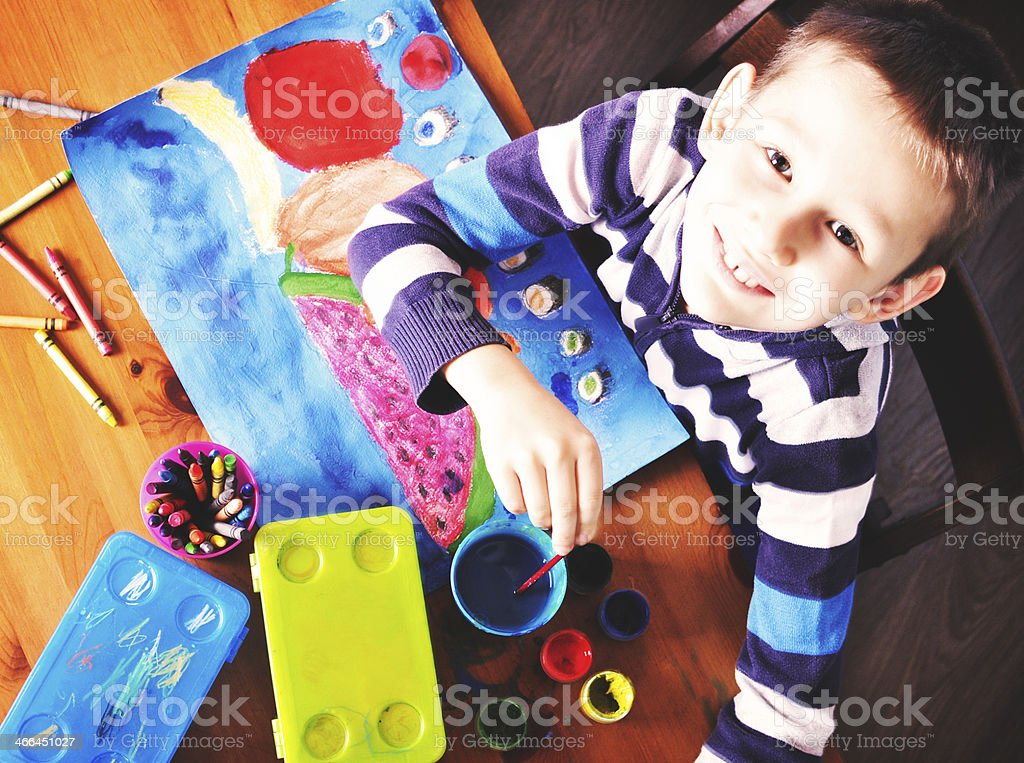 Top View of Small Artist stock photo