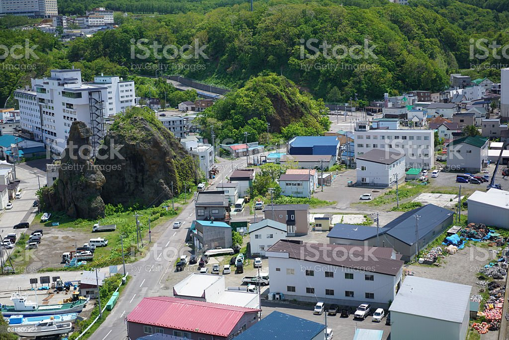 Top view of small town Utoro on Shiretoko, Japan photo libre de droits