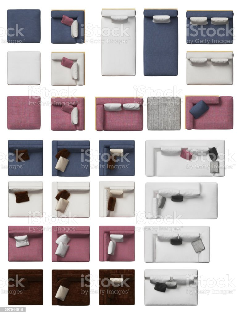 Top View Of Sofas And Couches Collection On White Background Stock