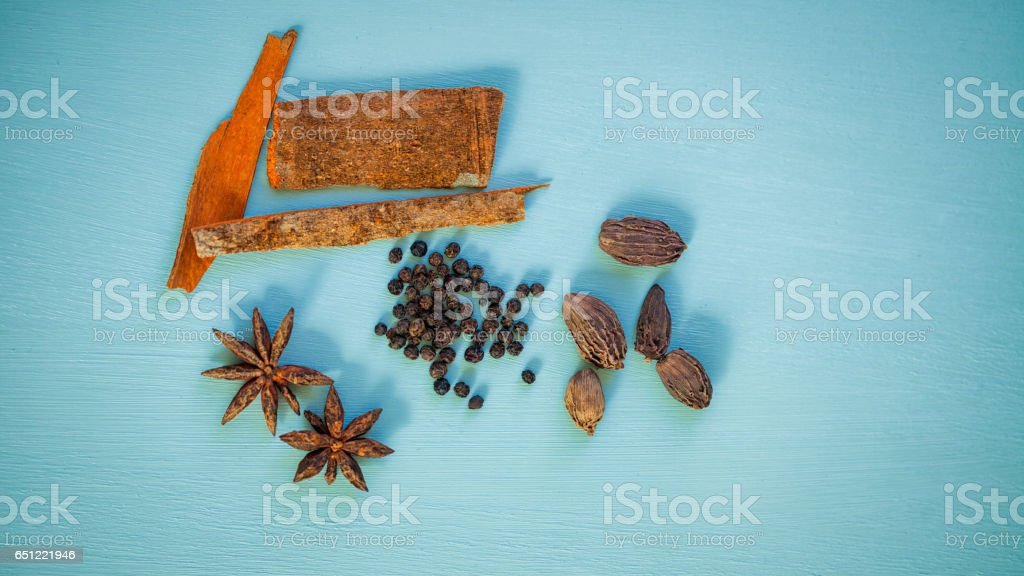 Top view of spices. stock photo