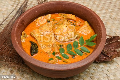 istock Top view of spicy and hot king fish curry Kerala Indian food 667671180